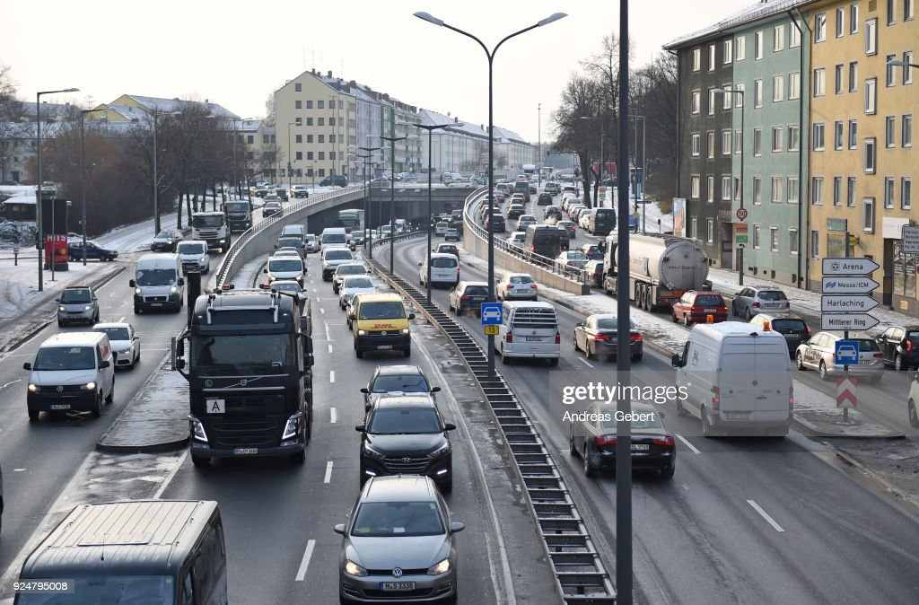 Cars drive along Mittlerer Ring on February 27, 2018 in Munich, Germany. The German Federal Court of Justice (Bundesgerichtshof) in Leipzig is due to rule whether German cities may impose bans or partial bans on diesel cars in order to bring down emissions levels. While the court is deciding on the measures for Stuttgart and Dusseldorf, the ruling will set an important precedent, especially for Munich, which in 2017 had the highest levels of nitrogen oxides (NO2) of any city in Germany. A total of 70 German cities are struggling to bring down their emissions in order to conform to European Union-mandated levels.