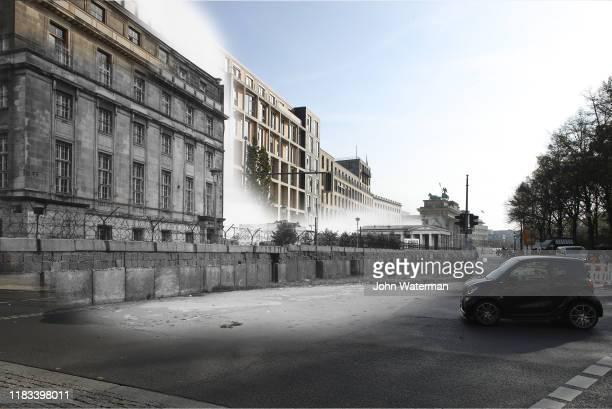 This digital composite image shows Scheidemannstrasse near the Brandenburg Gate in Berlin in 1966 and on October 23 2019 BERLIN GERMANY OCTOBER 23...