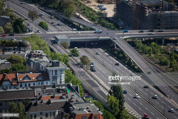 Cars drive along the highway A 103 on May 09 2018 in Berlin Germany