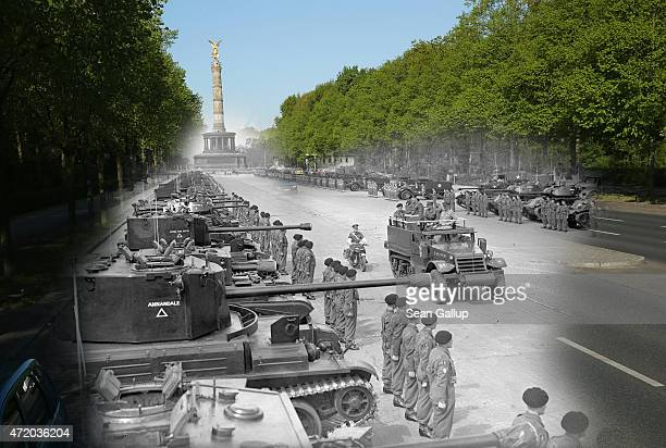 In this digital composite image a comparison has been made showing British Field Marshall Bernard Montgomery addressing Allied troops near Tiergarten...