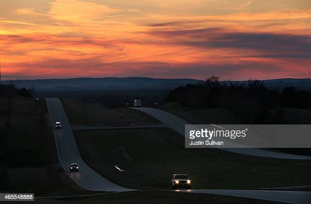 Cars drive along U.S. Highway 80, the route taken during the Selma to Montgomery civil rights march in 1965, on March 7, 2015 in Lowndes County,...