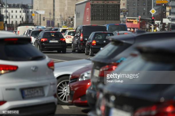 Cars drive and are parked in the city center on February 21 2018 in Berlin Germany The German Federal Court of Justice in Leipzig is due to rule...