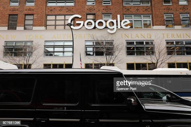 Cars drive by Google's New York offices on March 5 2018 in New York City Published reports say that the tech giant is close to a reaching a $24...