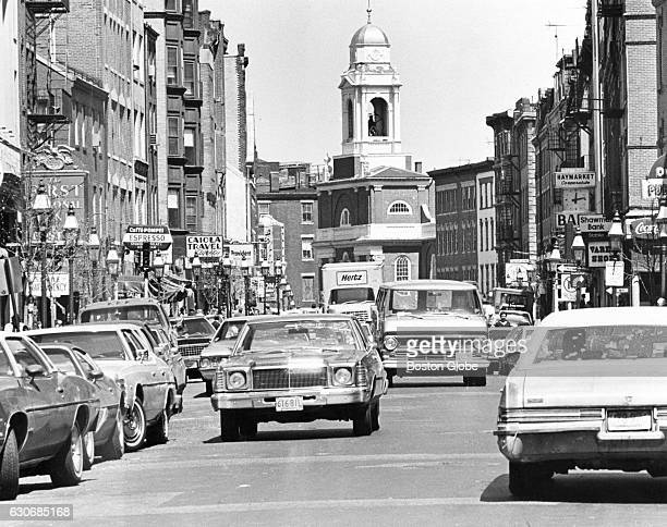 Cars drive down Hanover Street in Boston's North End May 1 1978 St Stephen's Church is in the background