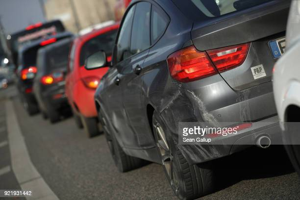 Cars drive in the city center on February 21 2018 in Berlin Germany The German Federal Court of Justice in Leipzig is due to rule tomorrow whether...