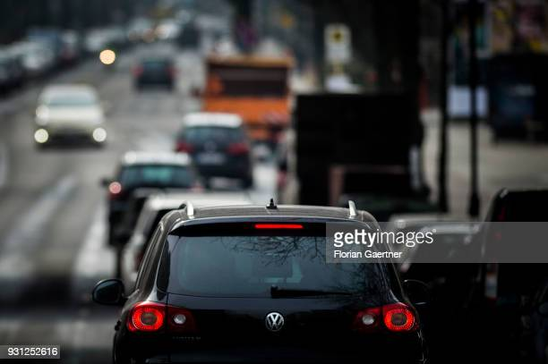 Cars drive on a city street on March 06 2018 in Berlin Germany