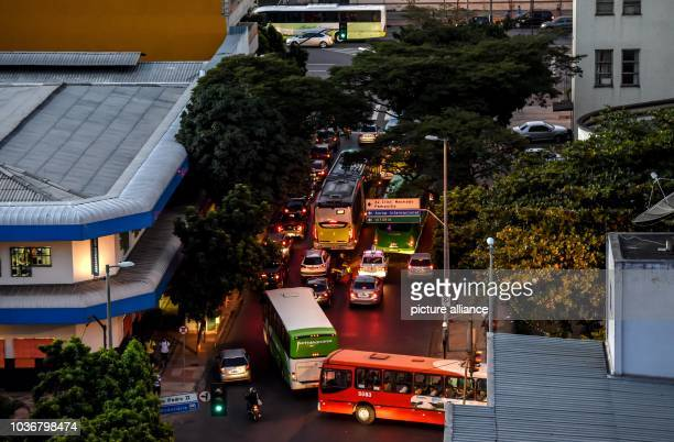 Cars drive on crossroads in the city center in Belo Horizonte Brazil 07 July 2014 Germany will face Brazil in the FIFAWorld Cup semifinal soccer...
