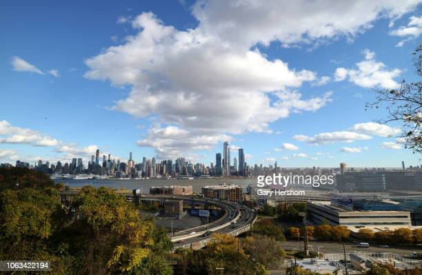Cars drive on the Lincoln Tunnel helix across the Hudson River from Huddson Yards in New York City on November 3 2018 in Weehawken New Jersey