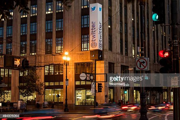 Cars drive past Twitter Inc headquarters in San Francisco California US on Wednesday Oct 21 2015 Twitter Inc is expected to release earnings figures...