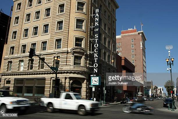 Cars drive through the downtown area April 29, 2008 in Stockton, California. As the nation continues to see widespread home loan foreclosures,...
