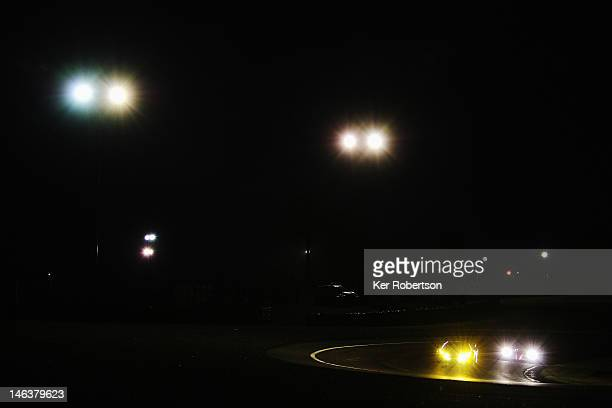 Cars drive through the Esses during qualifying for the Le Mans 24 Hour race at the Circuit de la Sarthe on June 14 2012 in Le Mans France