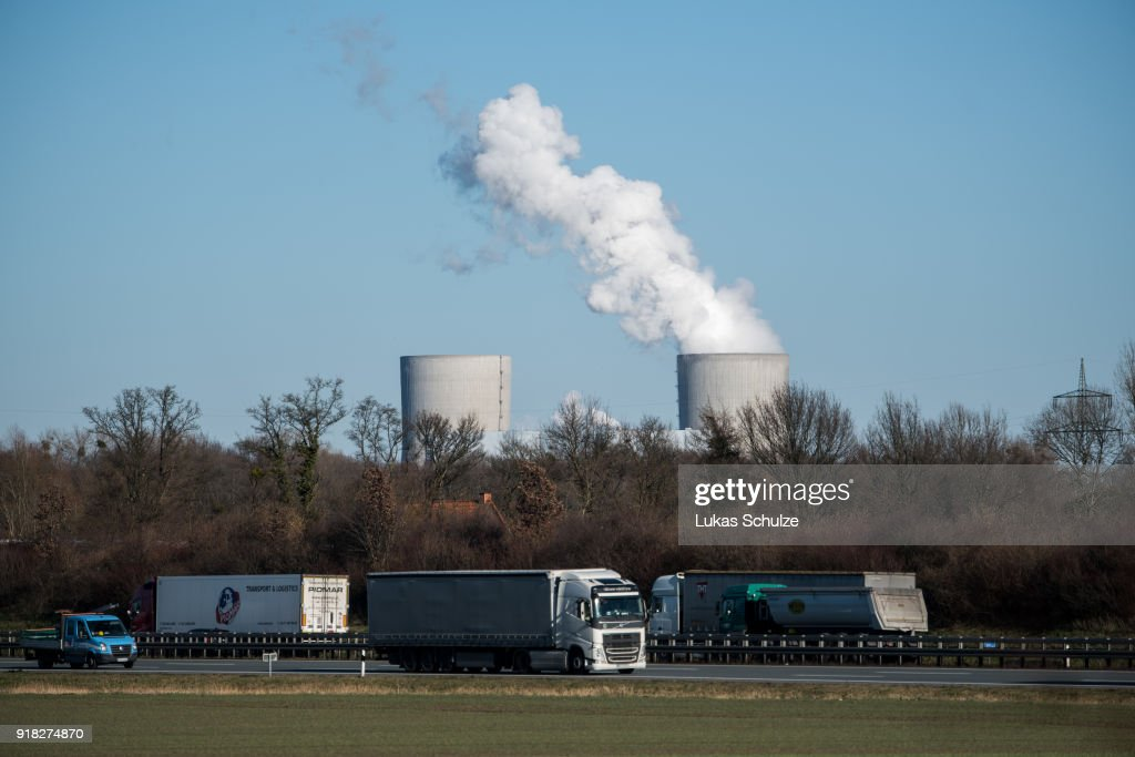 Cars driving along the A2 highway pass near the RWE Kraftwerk Westfalen coal-fired power plant on February 14, 2018 near Hamm, Germany. The plant uses bituminous coal and has a combined output of 1600 MW. Germany, which despite massive investments in renewable energy sources, is still dependent on coal. Political leaders have admitted Germany will be unable to meet its ambitious CO2 reduction goals for coming years.
