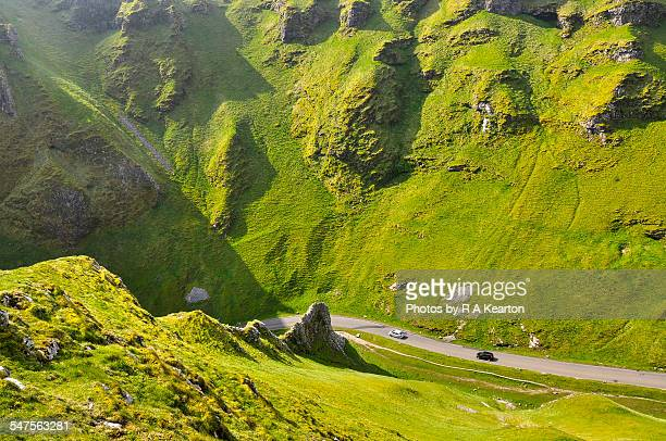 cars driving down Winnats Pass, Derbyshire