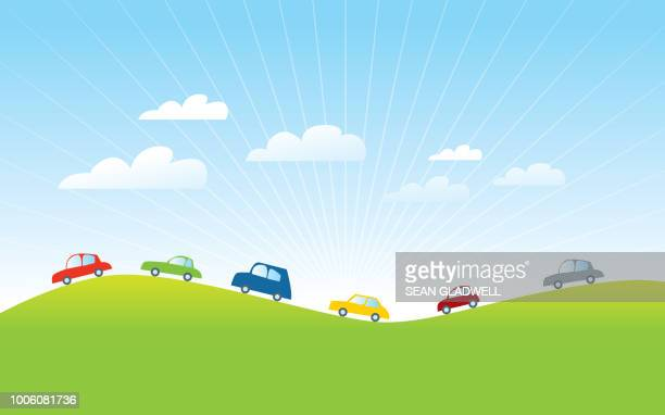 cars driving in countryside cartoon - animation stock pictures, royalty-free photos & images