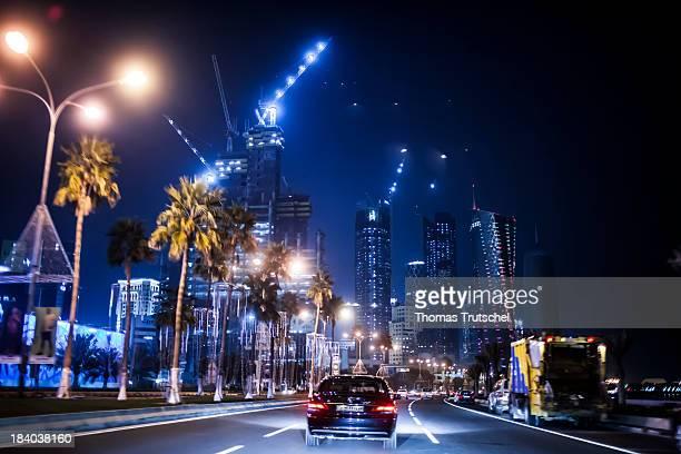 Cars driving through downtown of Riyadh at night