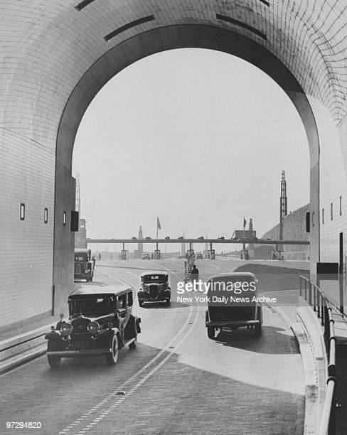 Cars enter and leave the New Jersey side of the Lincoln Tunnel