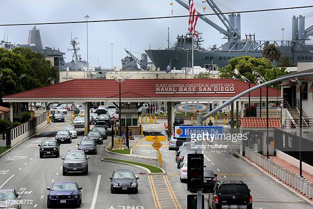 Cars enter Naval Base San Diego on May 8, 2015 in San Diego, California. The Pentagon raised the terror threat to Bravo level at U.S. Bases, the...