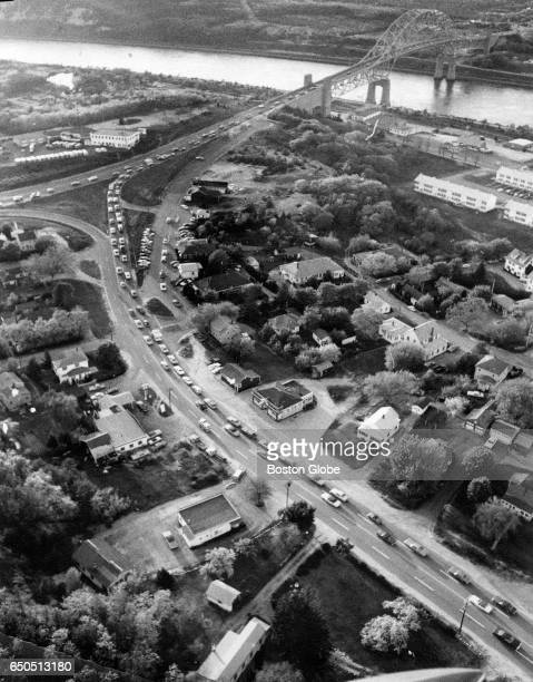 Cars enter the rotary at the Bourne Bridge on the Cape Cod side of the Cape Cod Canal in Bourne MA on May 29 1972
