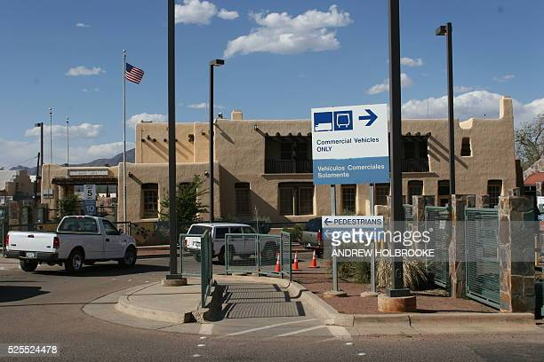 Cars entering the United States from Mexico pass through the American border station at Naco on the ArizonaMexico border