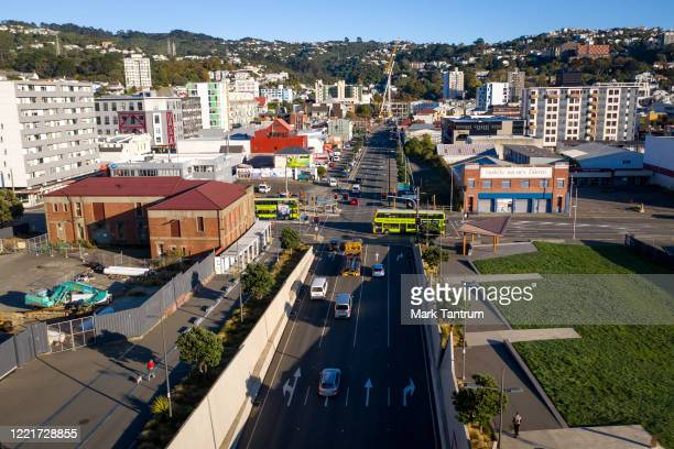Cars exiting Arras Tunnel on State Highway 1 intersecting Taranaki Street on April 29 2020 in Wellington New Zealand New Zealand's lockdown measures...