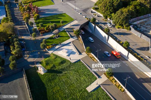Cars exiting the Arras Tunnel at Pukeahu National War Memorial Park on April 29 2020 in Wellington New Zealand New Zealand's lockdown measures were...