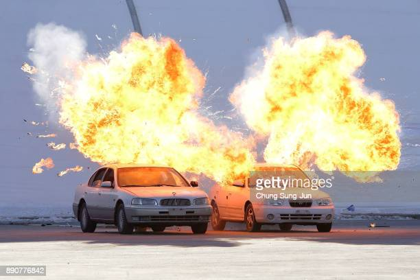 Cars explode during a antiterror drill at the Olympic Staduim venue of the Opening and Closing ceremony on December 12 2017 in Pyeongchanggun South...