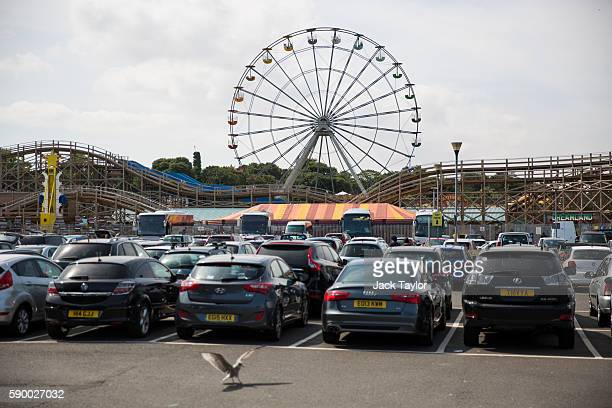Cars fill the Dreamland amusement park car park on August 16 2016 in Margate England British holidaymakers and overseas visitors flock to British...