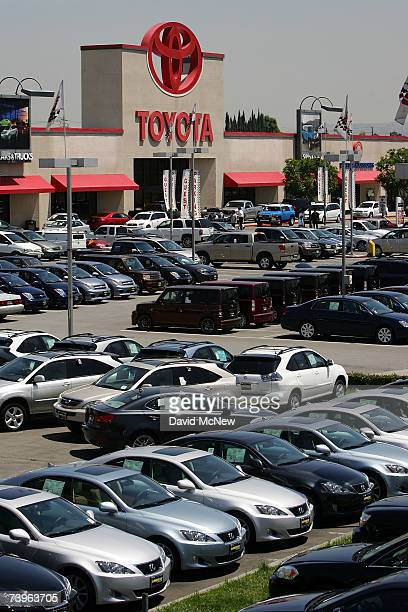 Cars fill the parking lot of the world's largest auto dealership Longo Toyota which enjoys continued strong sales after a record quarterly report for...