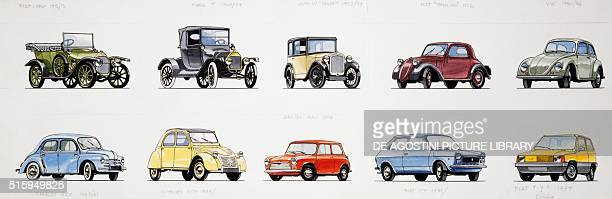 Cars from 1908 to 1980 drawing