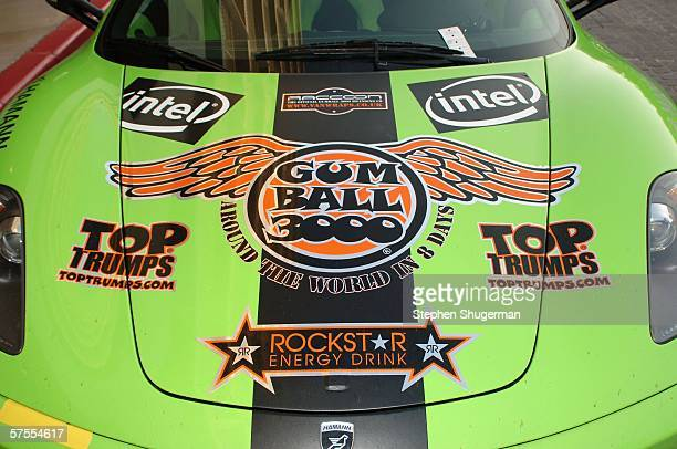 Cars from the rally are on display at the Gumball 3000 Playboy Mansion Party at the Playboy Mansion on May 7 2006 in Los Angeles California