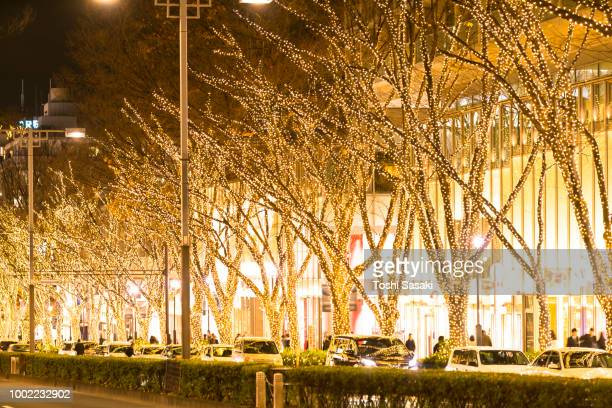cars go through among the illuminated tree lined omotesadndo street for winter holydays season in the night at kitaaoyama, minato tokyo japan on december 06 2017. - 表参道 ストックフォトと画像