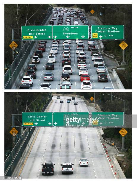 In this beforeandafter composite image **TOP IMAGE** LOS ANGELES CALIFORNIA MARCH 12 Cars head downtown during the morning rush hour on the 110...