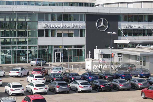 Cars in front of MercedesBenzbuilding in Warsaw Poland on 13 October 2016
