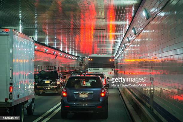 cars in lincoln tunnel, new york city, new york state, usa - lincoln tunnel stock photos and pictures