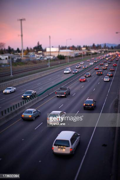 Cars in Rush Hour Traffic at Sunset