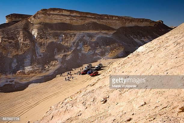 Cars in Sahara desert.