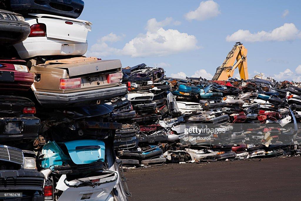 Cars in scrap yard : Stock Photo