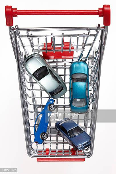 Cars in shopping cart, elevated view