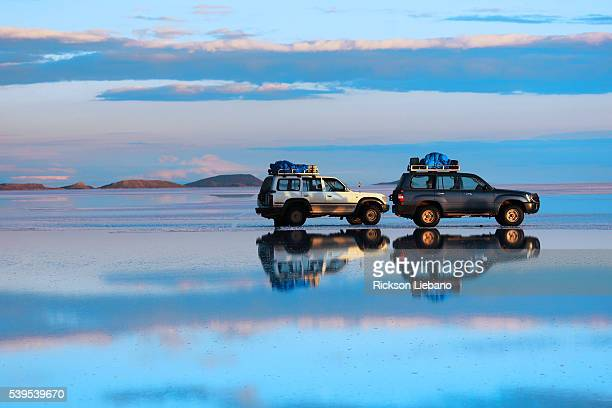 Cars in the Uyuni Salt Desert