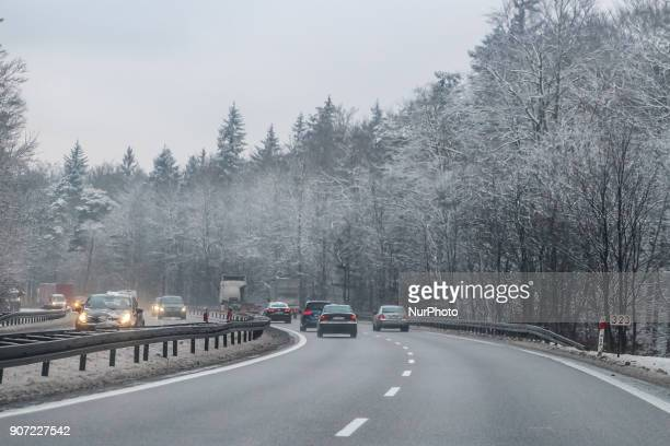 Cars in the winter scenery of the Tricity Ringroad are seen in Gdansk Poland on 19 January 2018 Heavy snow fall and wind Power has been cut to some...