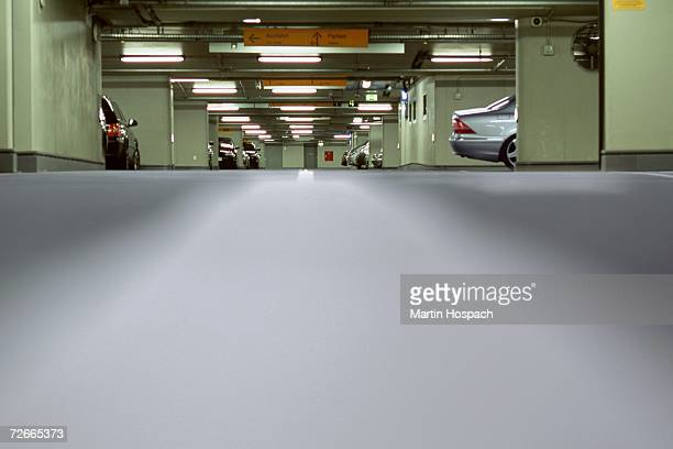 Cars in underground parking lot