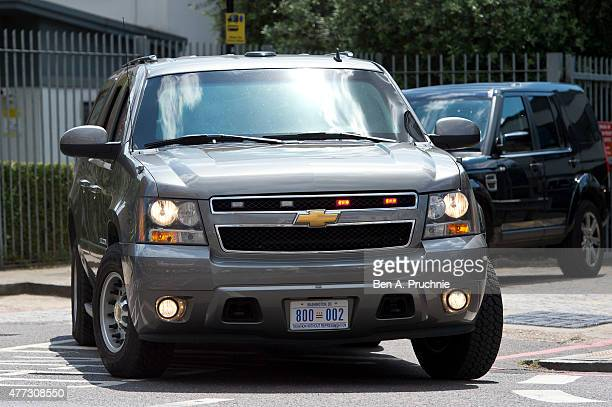 Cars in US First Lady Michelle Obama motorcade depart the Mulberry School for Girls after a 'Let Girls Learn Initiative' event on June 16 2015 in...
