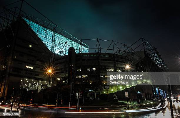 Cars leave a light trail as they pass StJame's Park prior to kickoff of the U18 FA Youth Cup Match between Newcastle United and AFC Wimbledon at...