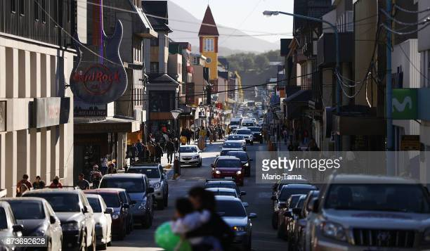 Cars line downtown Ushuaia on November 5 2017 in Ushuaia Argentina Ushuaia is situated along the southern edge of Tierra del Fuego in the Patagonia...