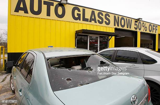 Cars line up at Auto Glass Now after a hail storm on Thursday March 17 2016 in Fort Worth Texas