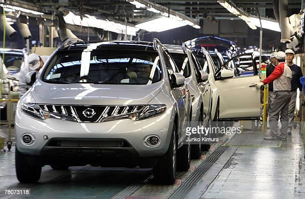 Cars line up at Nissan Motor Company's Kyushu Plant on November 23, 2007 in Kiyakyushu, Japan. A total of 530,000 units are produced at Kyushu Plant...