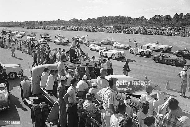 Cars line up for the start of a sports car race at the New Smyrna Beach Airport The 24mile road course at the airport hosted races in February of...