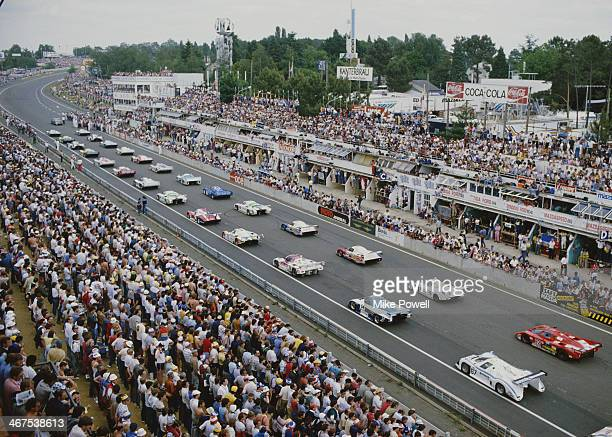 Cars line up on the front straight ready for the start of the FIA World Sportscar Championship 24 Hours of Le Mans race on 15th June 1985 at the...
