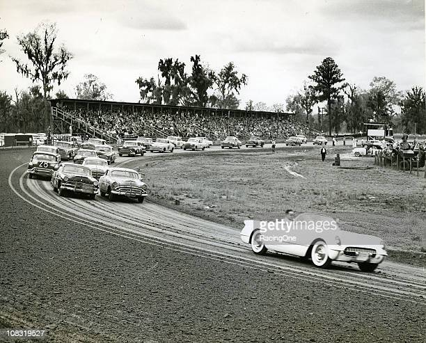 Cars lineup for the start of a NASCAR Cup race at Oglethorpe Speedway The Hudsons of Herb Thomas and Donald Thomas are on the front row Al Keller...