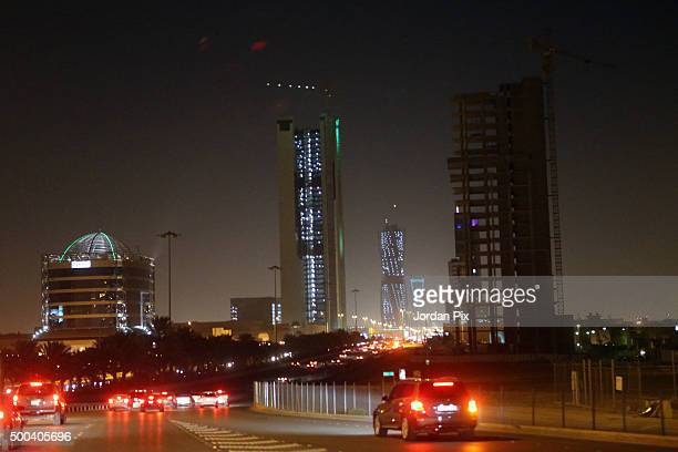 Cars make their way along Al Olaya street one of the most busy streets in Riyadh on December 7 2015 in Riyadh Saudi Arabia The Kingdom of Saudi...